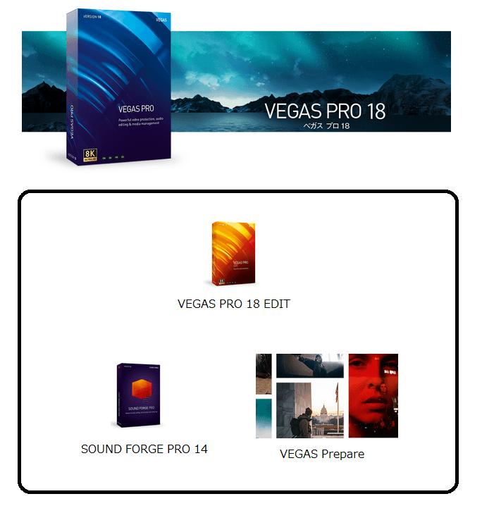vegas pro 18 suiteの内容ソフト