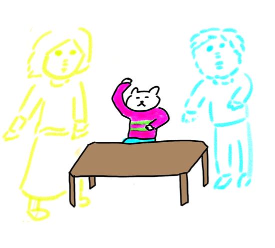 テーブルで喜ぶ猫のイラスト
