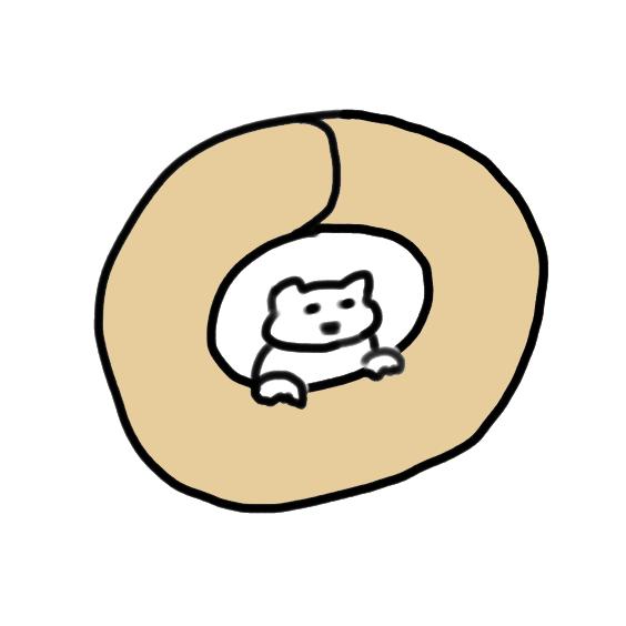 ベーグルと猫ちゃんのイラスト