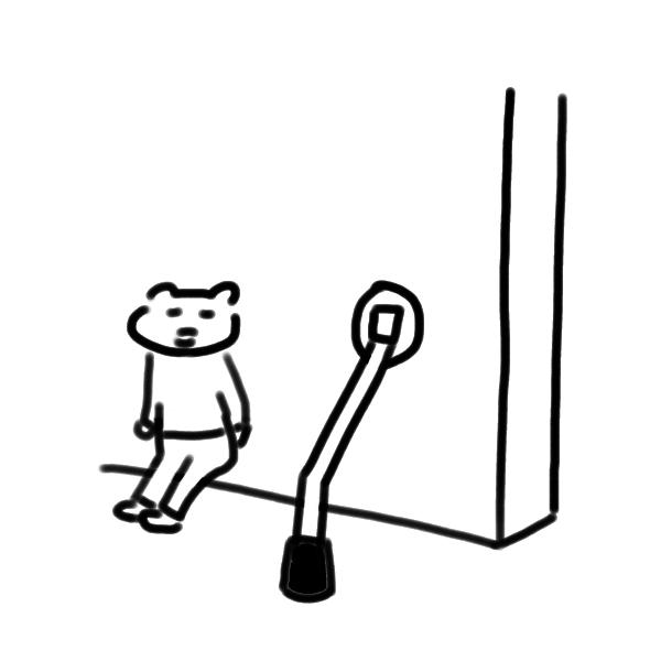 ドアストッパーと猫ちゃんのイラスト