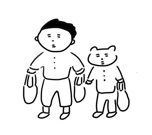 買い物をする男と猫のイラスト