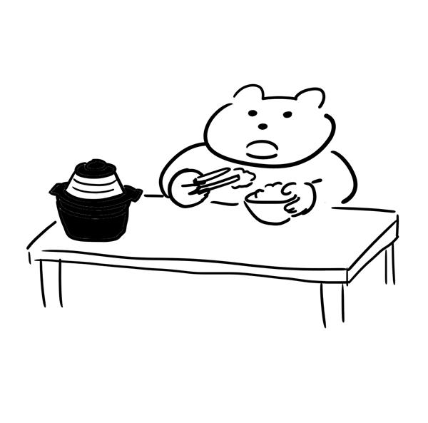 土鍋で炊いたご飯を食べている猫のイラスト