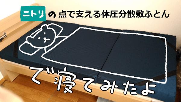 ニトリの点で支える体圧分散敷布団で寝る猫のイラスト