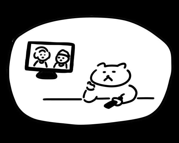 Fire TVを使ってテレビ見逃し放送を見ている猫のイラスト