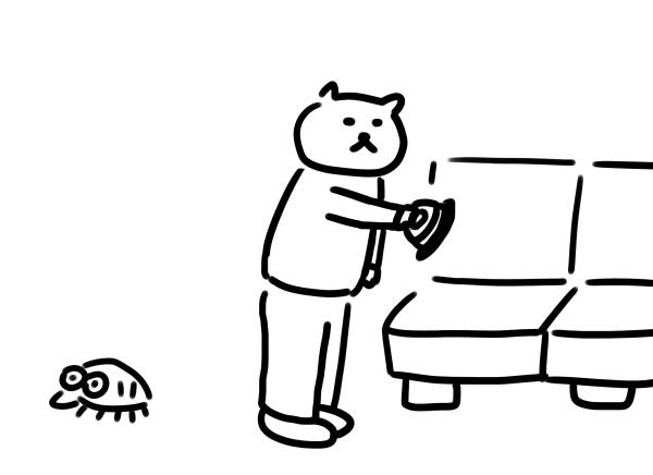 スチームアイロンでダニ退治をする猫のイラスト