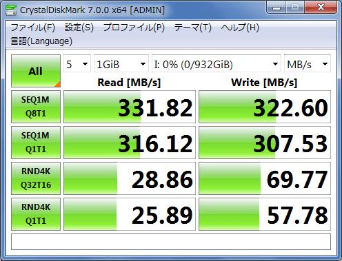 WDS100T2B0A-ECの速度(USB3.0)