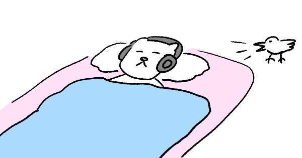 ノイキャンヘッドフォンで寝る猫のイラスト