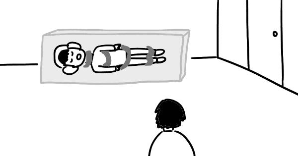 ノイズキャンセリングヘッドフォンで横向きで寝る方法のイラスト